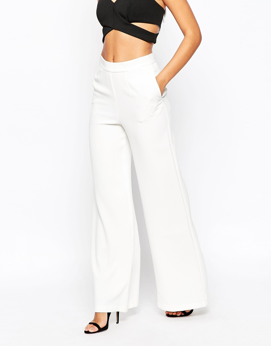 eeb91397122d8 Lyst - ASOS Occasion Woven Wide Leg Trousers in White