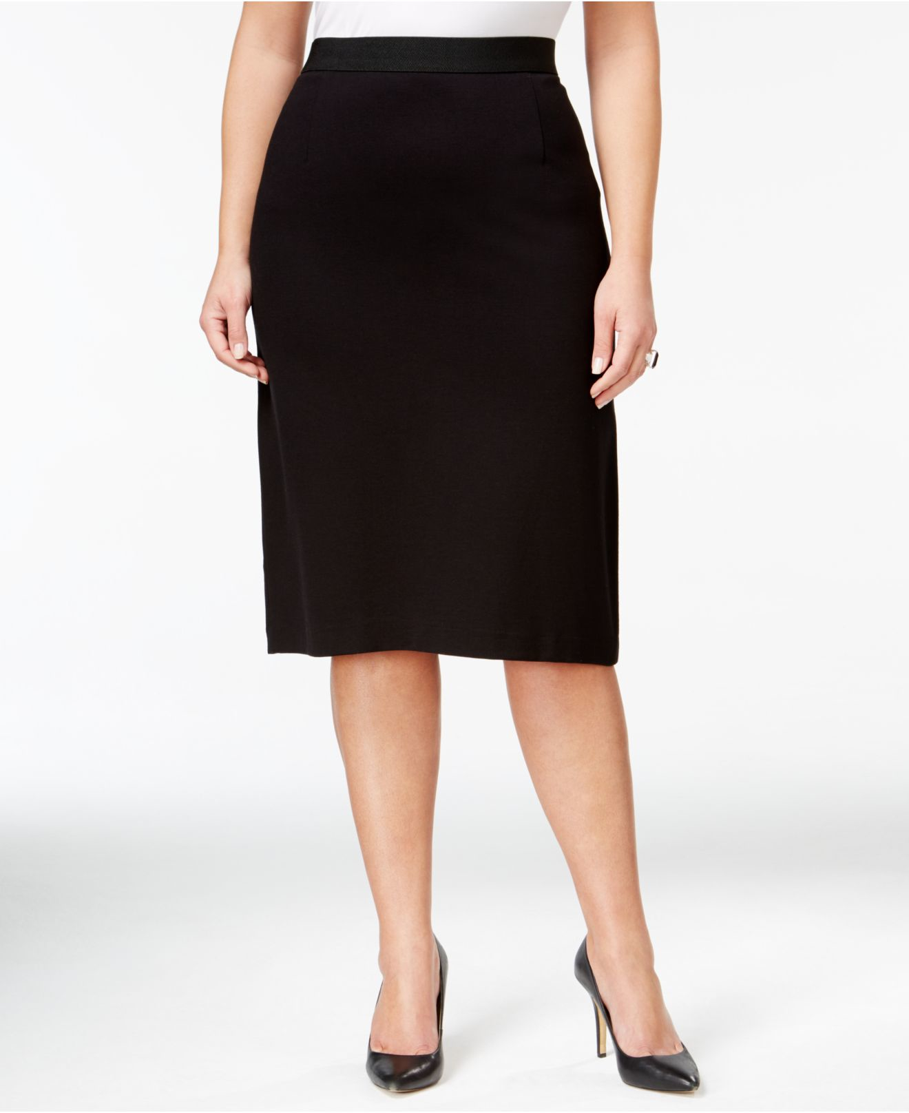 108f942e228 Lyst - Tahari Plus Size Below-knee Pencil Skirt in Black