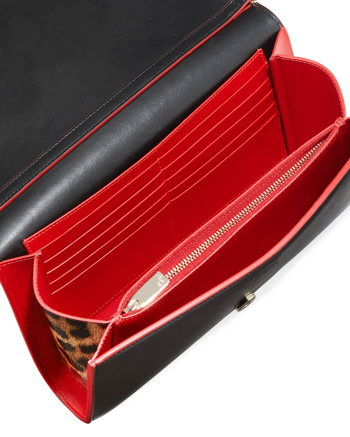 Christian louboutin Paloma Fold-over Spike Clutch Bag in Red   Lyst