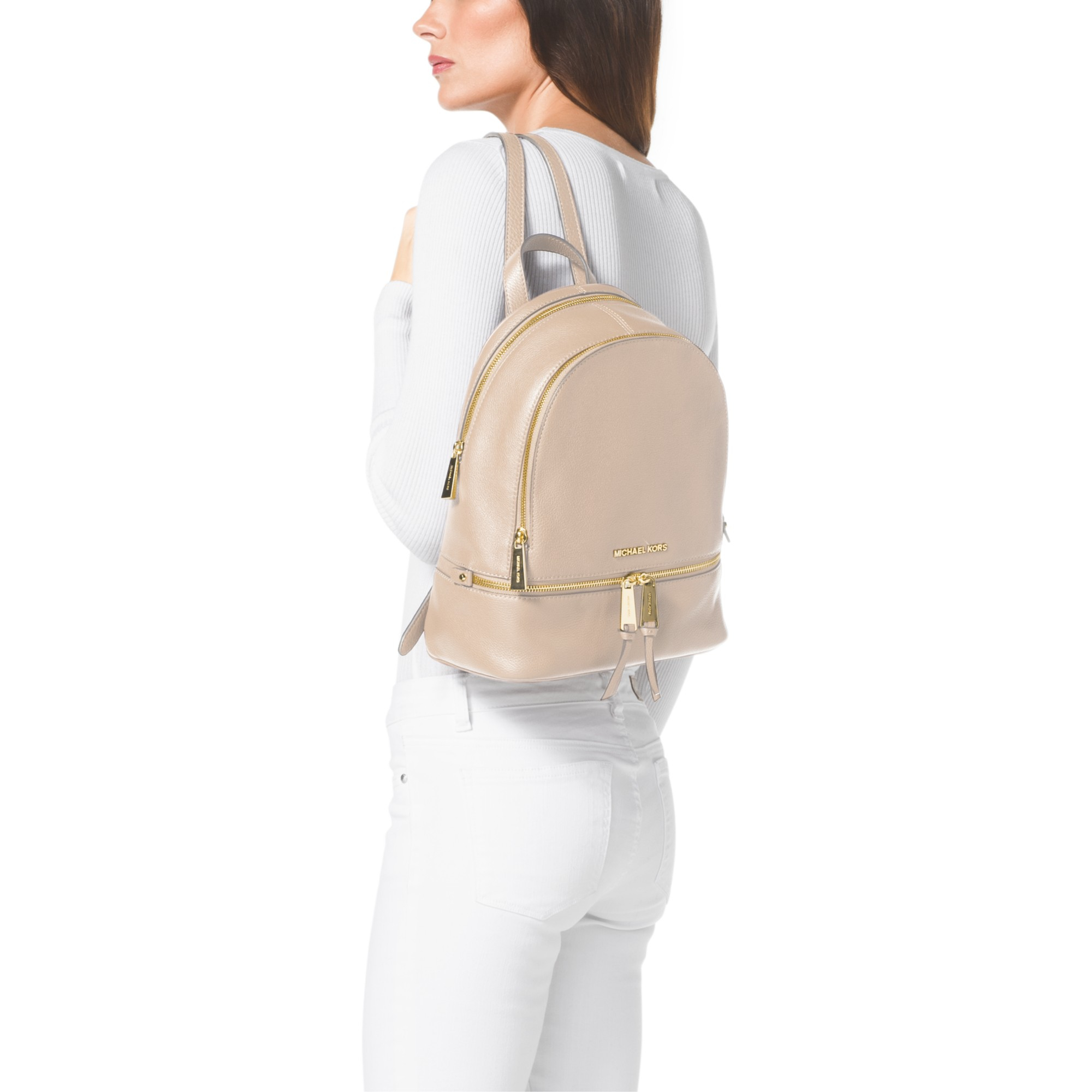 9ace113b6751 MICHAEL Michael Kors Rea Zip Small Leather Backpack in Natural - Lyst
