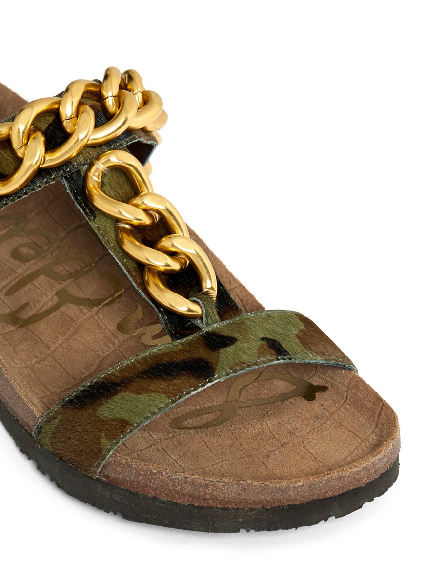 Sam Edelman Allyn Chain Detail Camouflage Sandals In