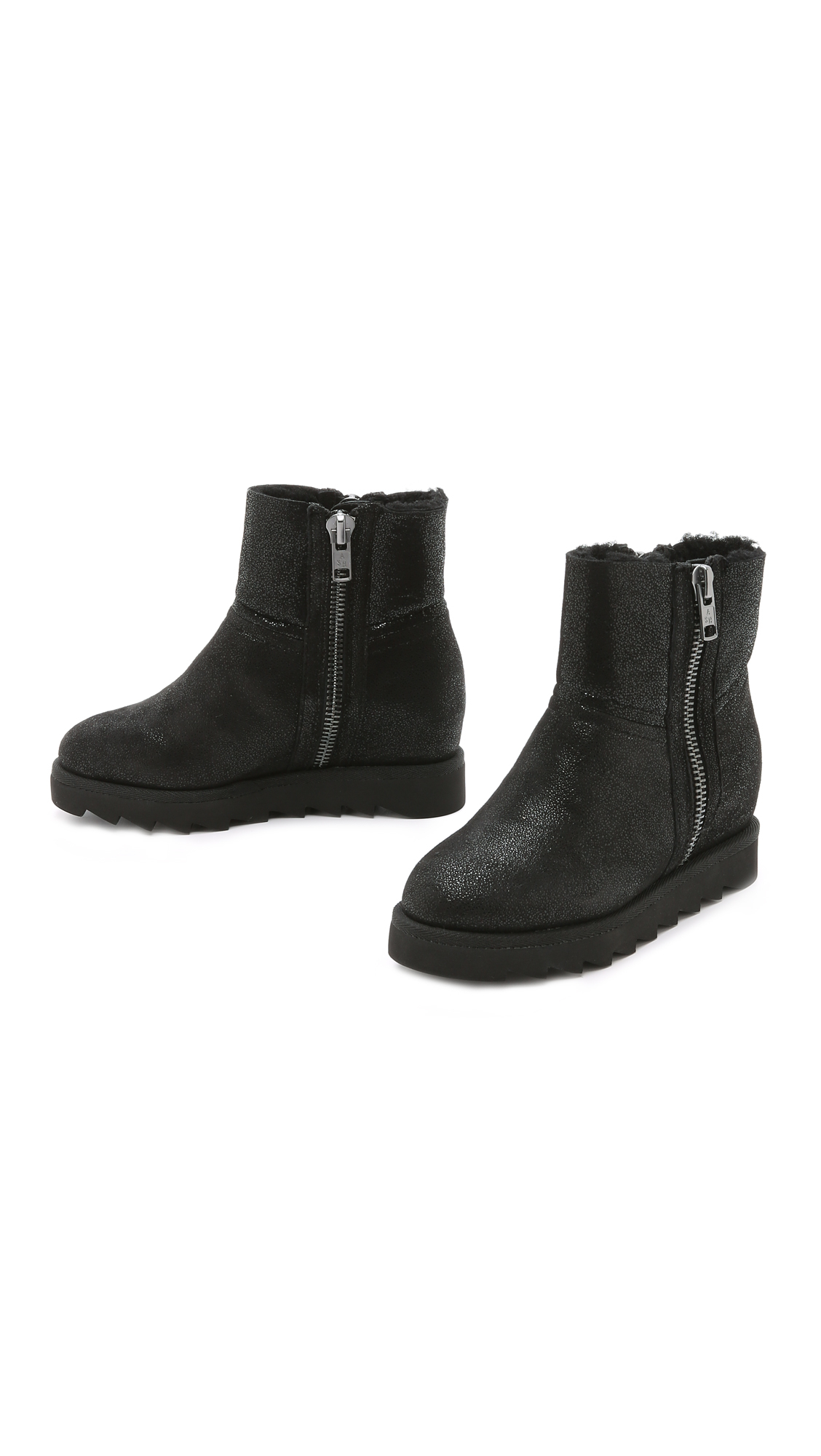 Ash Yang Glitter Booties - Black/black