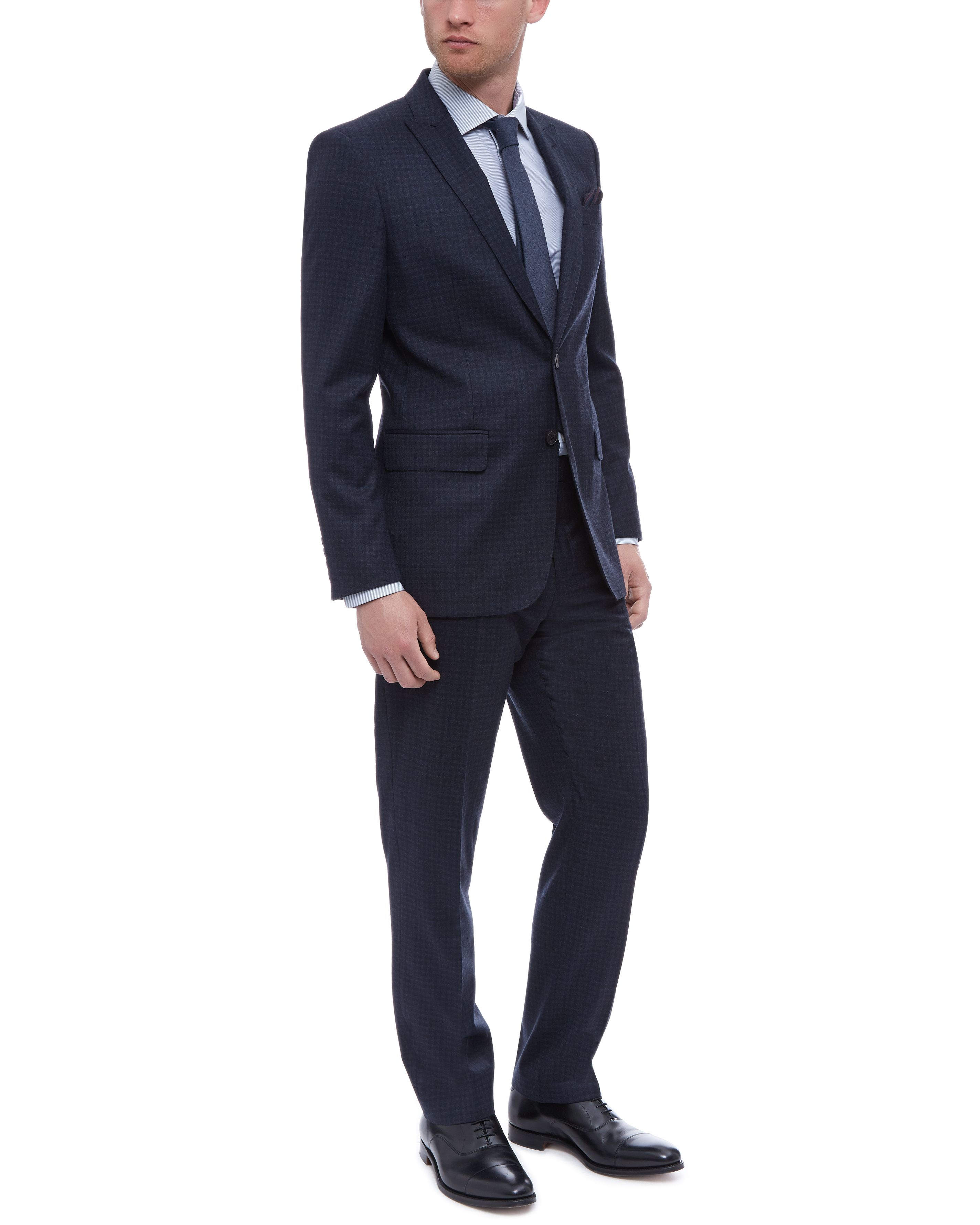 Jaeger Wool Faded Check Suit in Navy (Blue) for Men