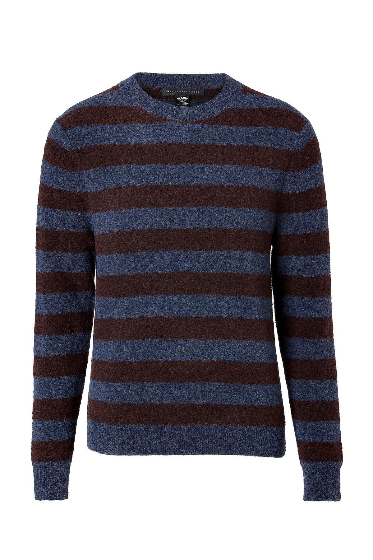 marc by marc jacobs wool cotton striped pullover in sailor navy melange multi in blue for men lyst. Black Bedroom Furniture Sets. Home Design Ideas