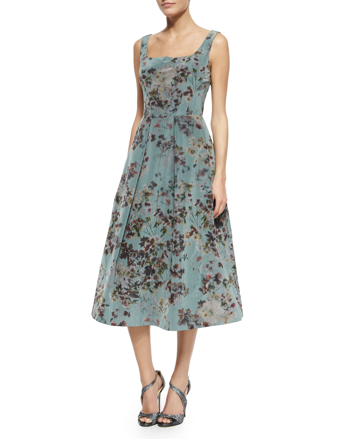 Lyst - Kay Unger Floral Sleeveless Tea-Length Cocktail Dress