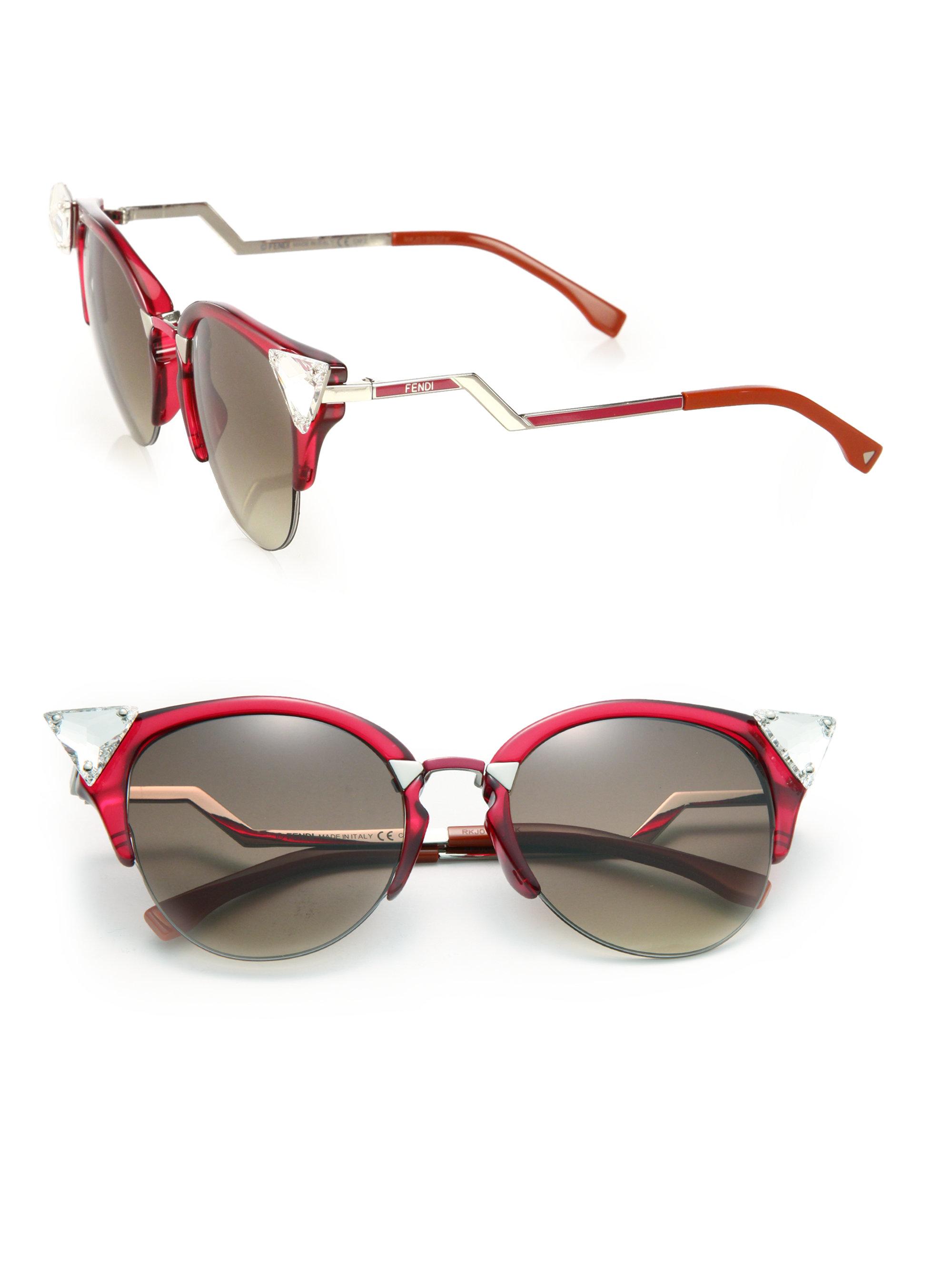 Fendi Edged Zig Zag Optyl Cat S Eye Sunglasses In Red Lyst