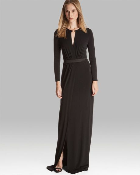 Halston Heritage Slit Front Jersey Gown In Black Lyst