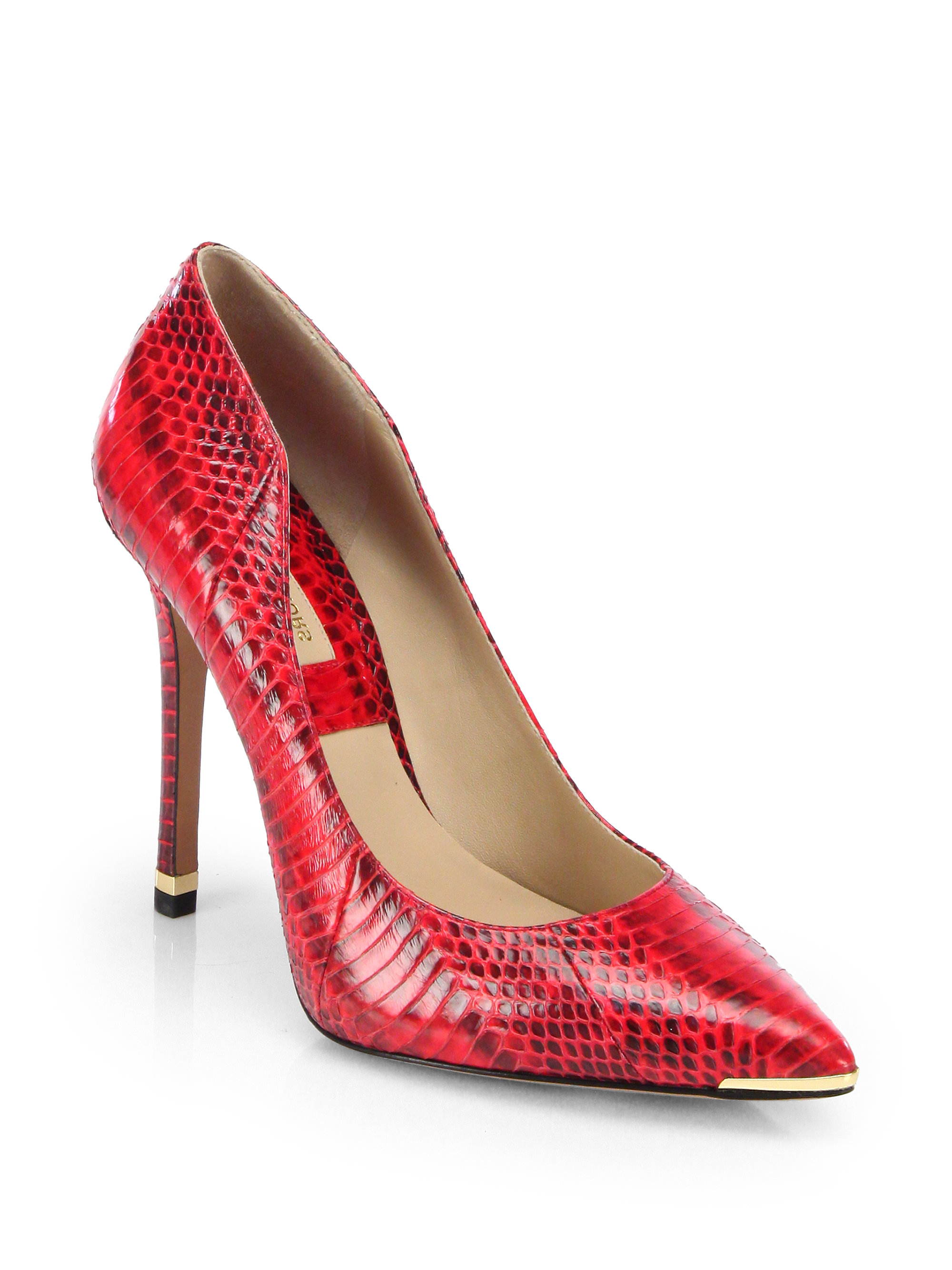a5ab74f58c7fb Michael Kors Avra Snakeskin Pumps in Red - Lyst
