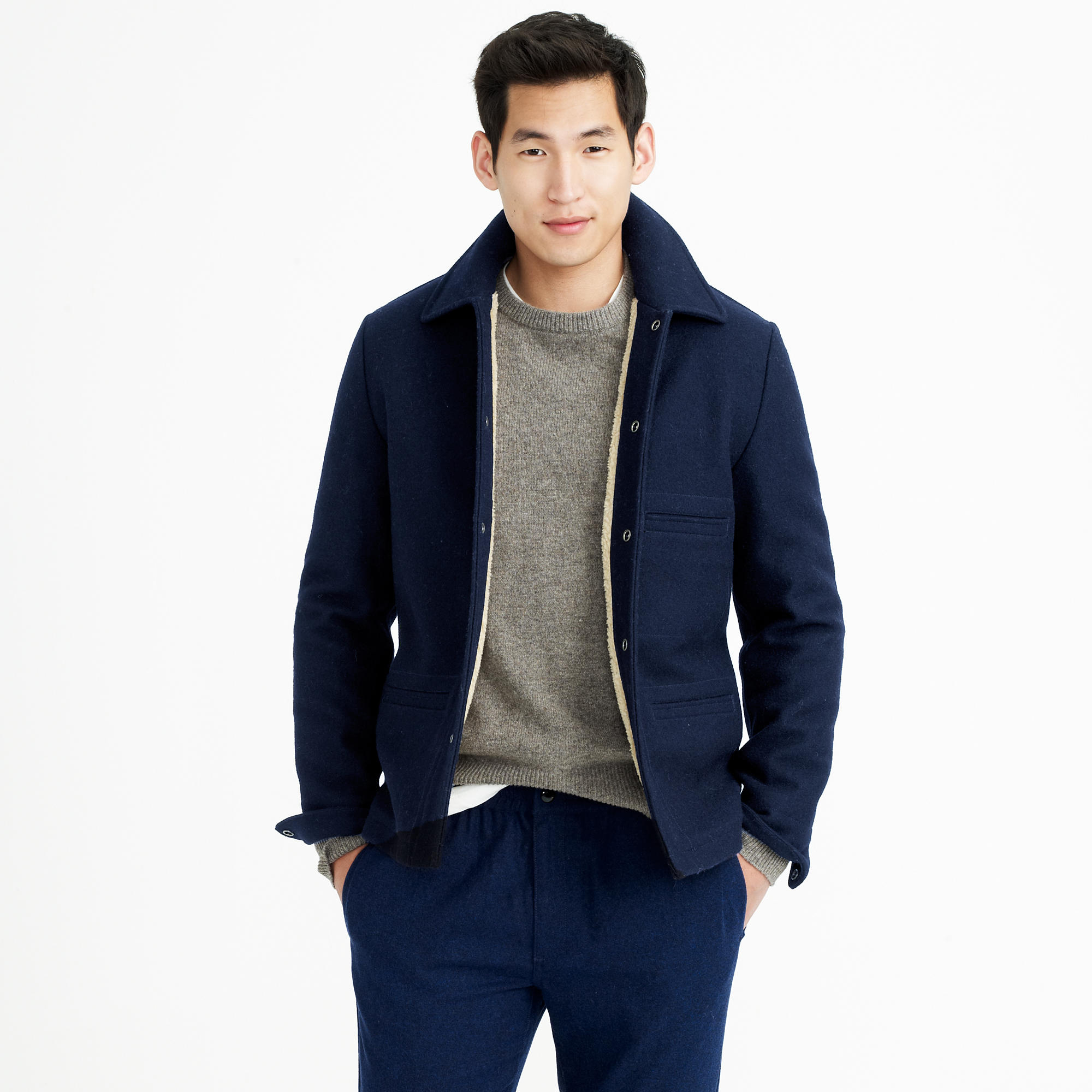 J Crew Tall Skiff Jacket With Sherpa Lining In Blue For