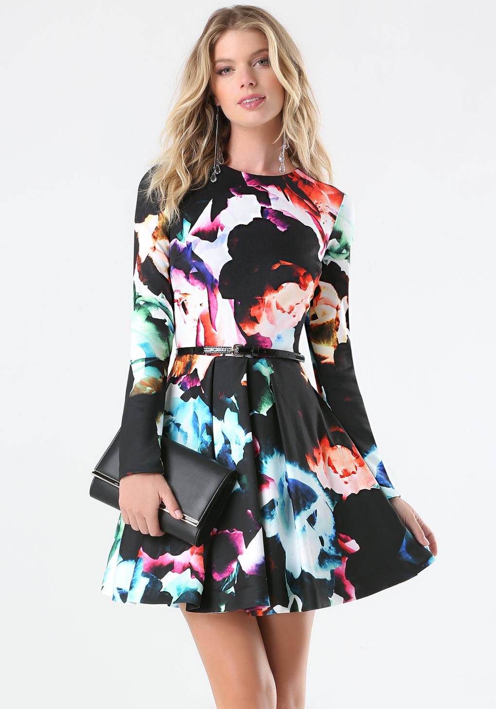 lyst bebe print fit flare dress in black. Black Bedroom Furniture Sets. Home Design Ideas