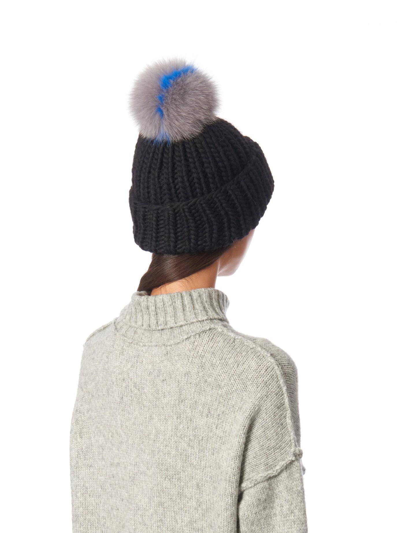 Lyst - Eugenia Kim Rain Fur Pompom Beanie Hat in Black 57488ba309e
