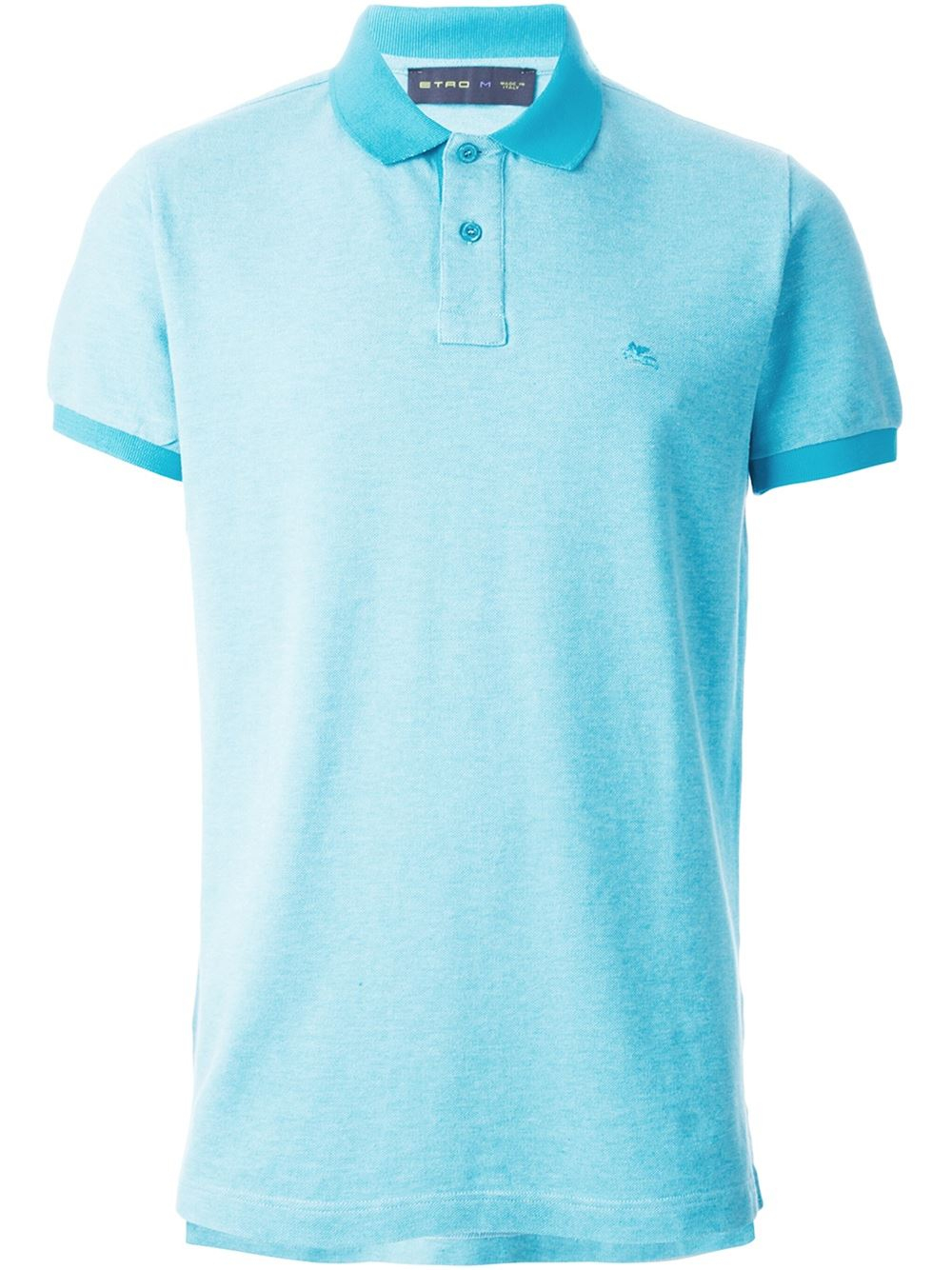 Etro logo embroidered polo shirt in blue for men lyst for Polo shirts with embroidery