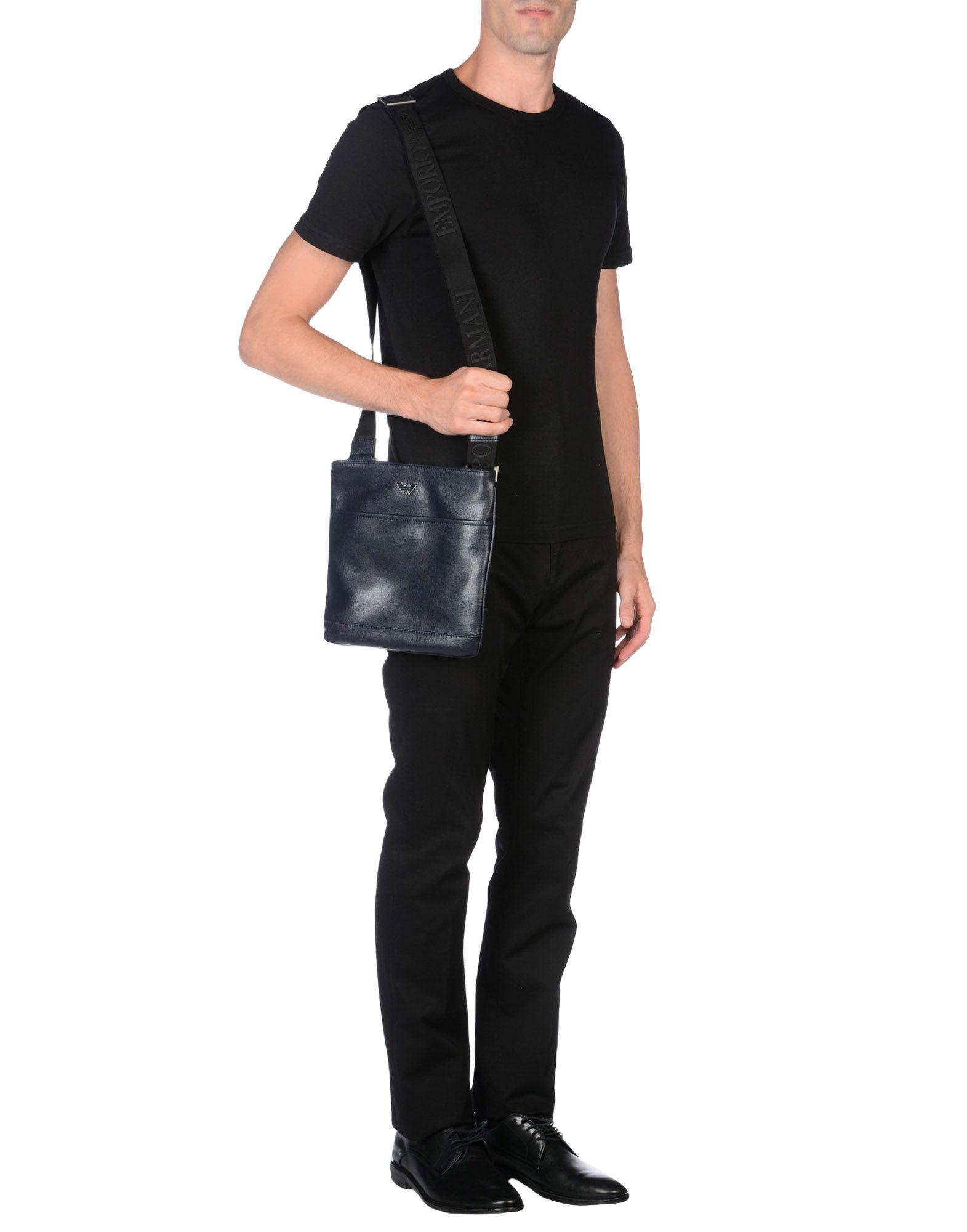 Lyst - Emporio Armani Leather Cross-Body Bag in Blue for Men 27d6a6048da73
