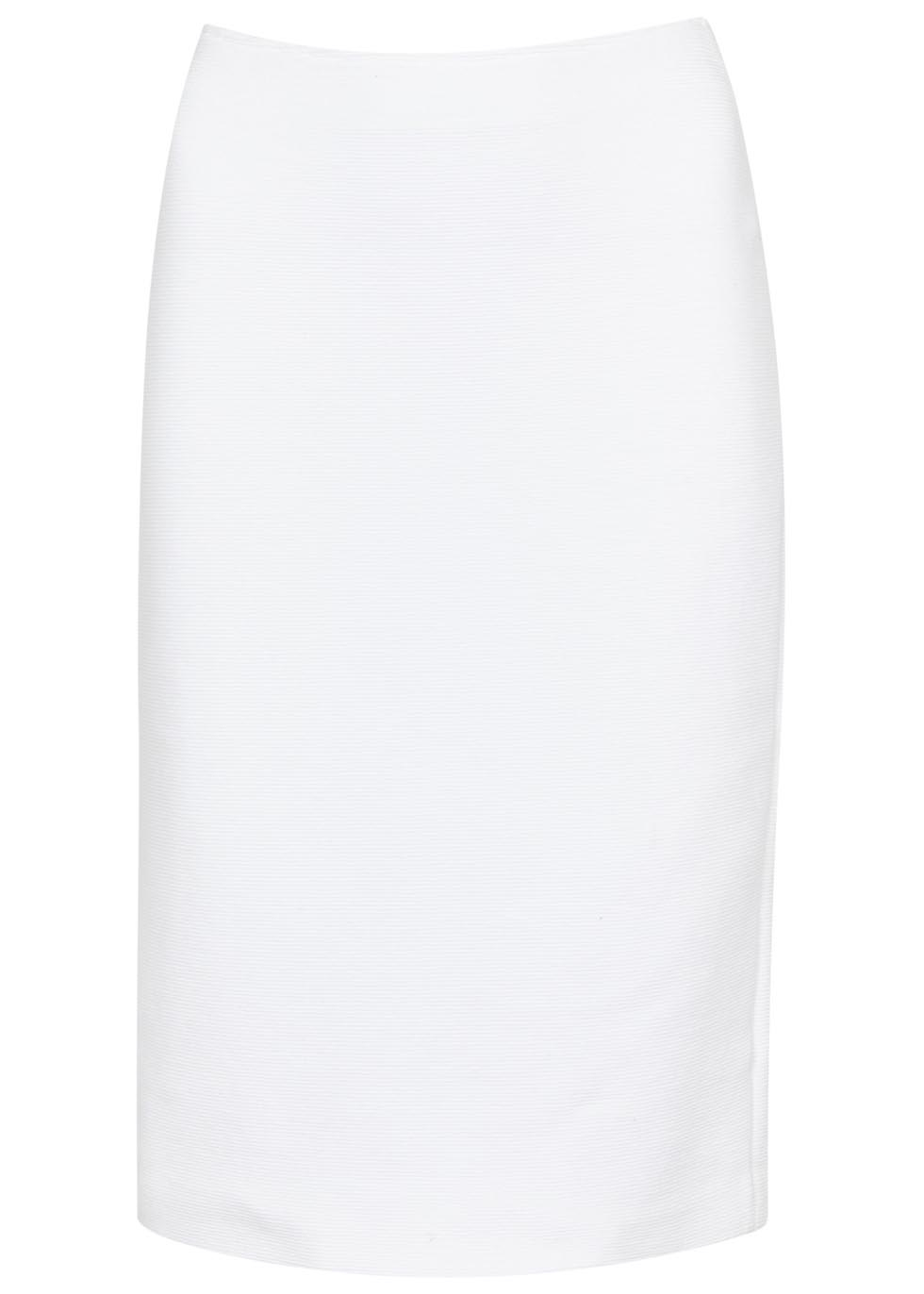 armani white ribbed stretch cotton pencil skirt in white