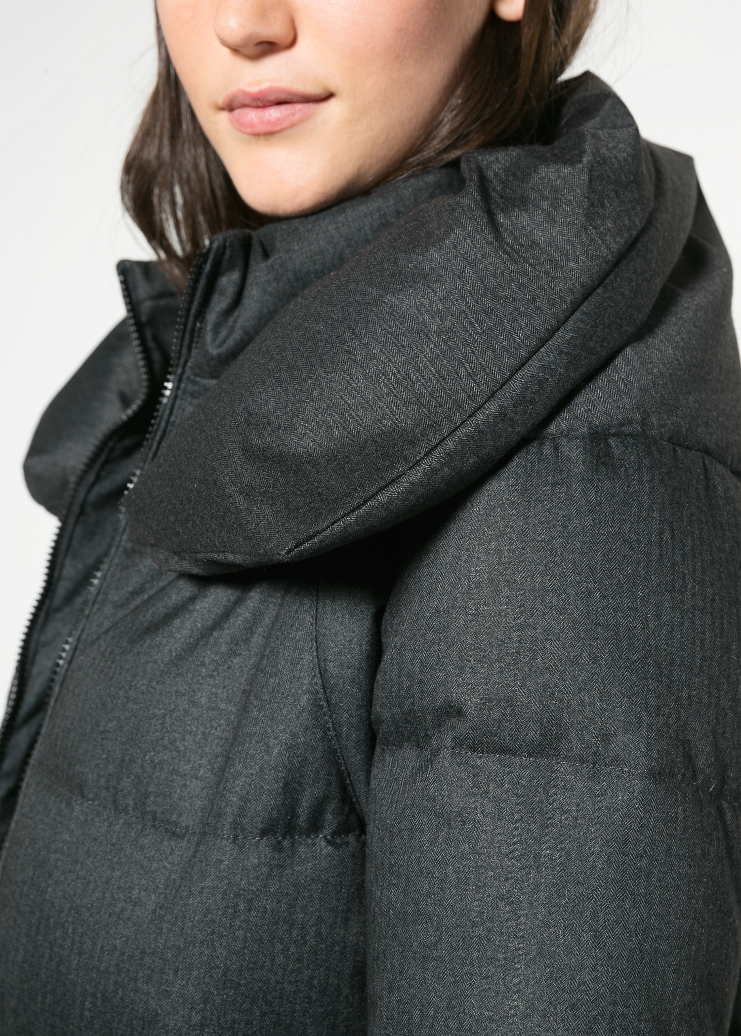 Violeta by mango Feather Down Coat in Black | Lyst