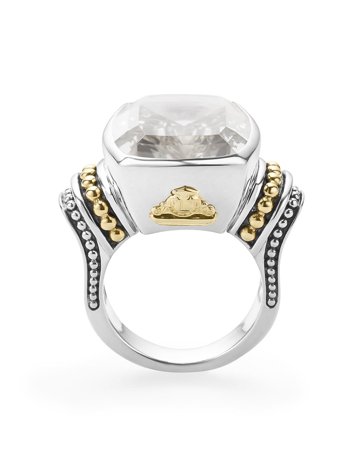 lagos 20mmm caviar color white topaz ring in white lyst