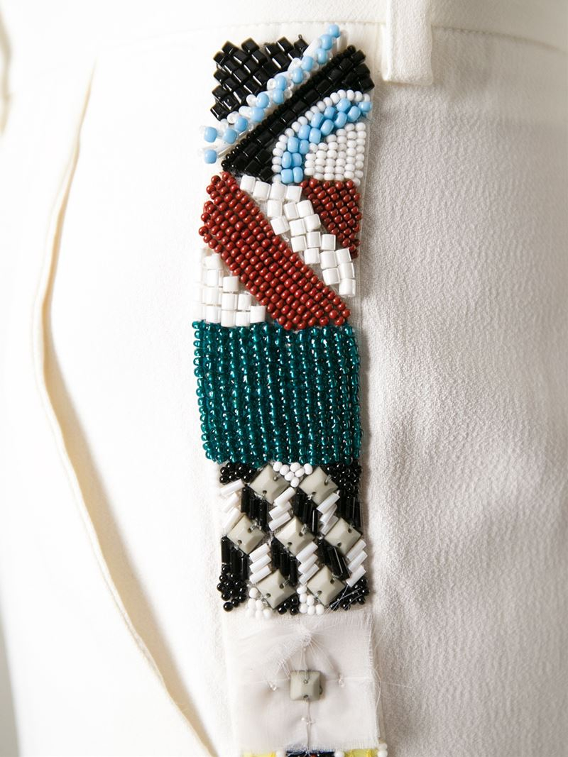 Lyst msgm bead embroidered trousers in white