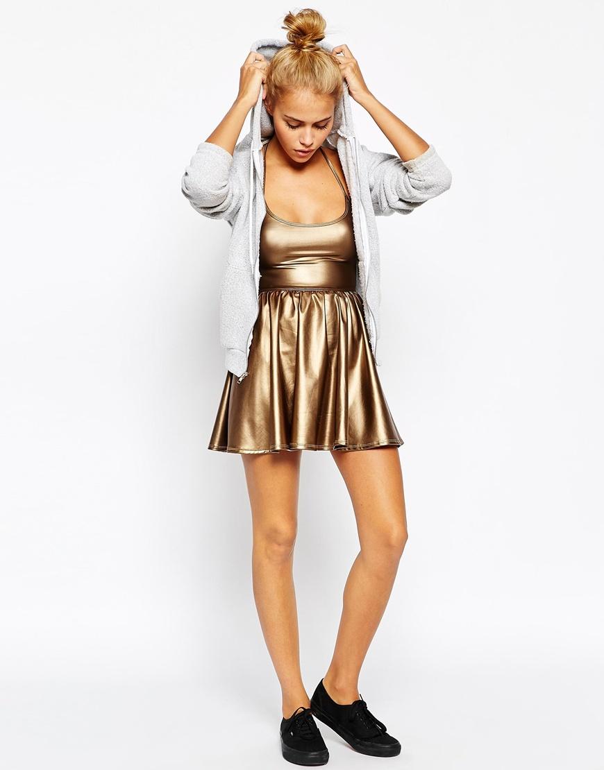 1c18188d7d American Apparel Metallic Skater Dress in Metallic - Lyst