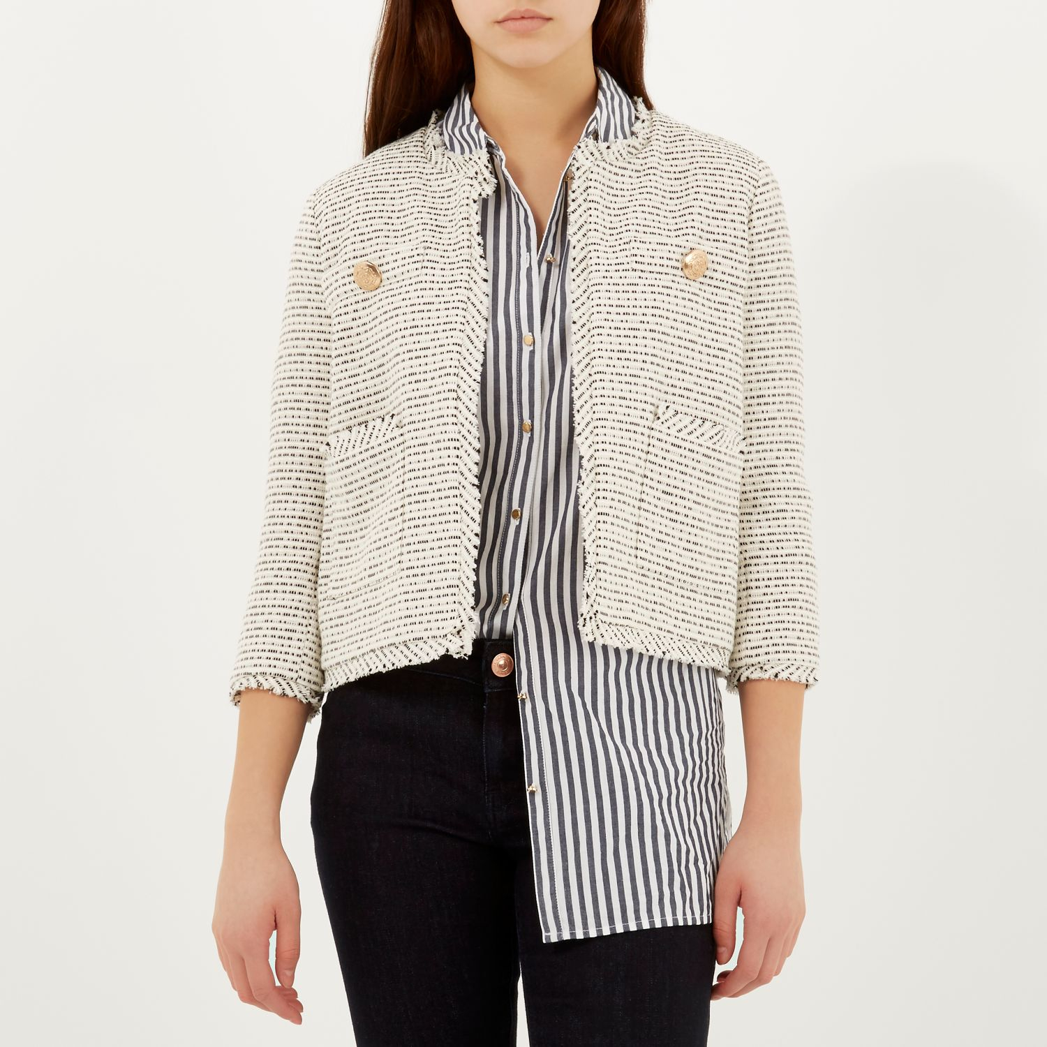 River island Cream Flecked Boxy Tweed Jacket in Natural | Lyst