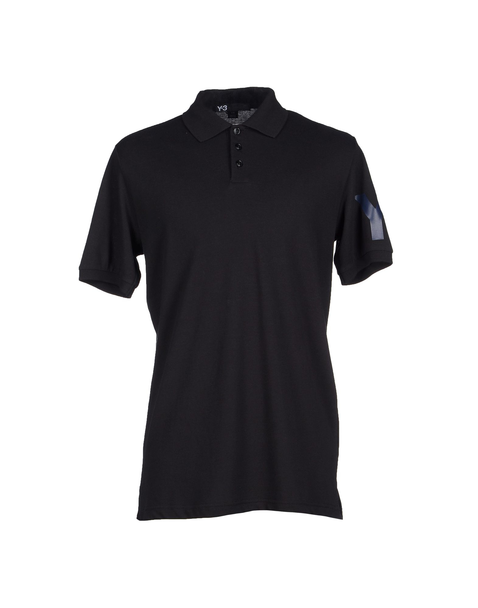 Lyst y 3 logo cotton polo shirt in black for men for Cotton polo shirts with logo