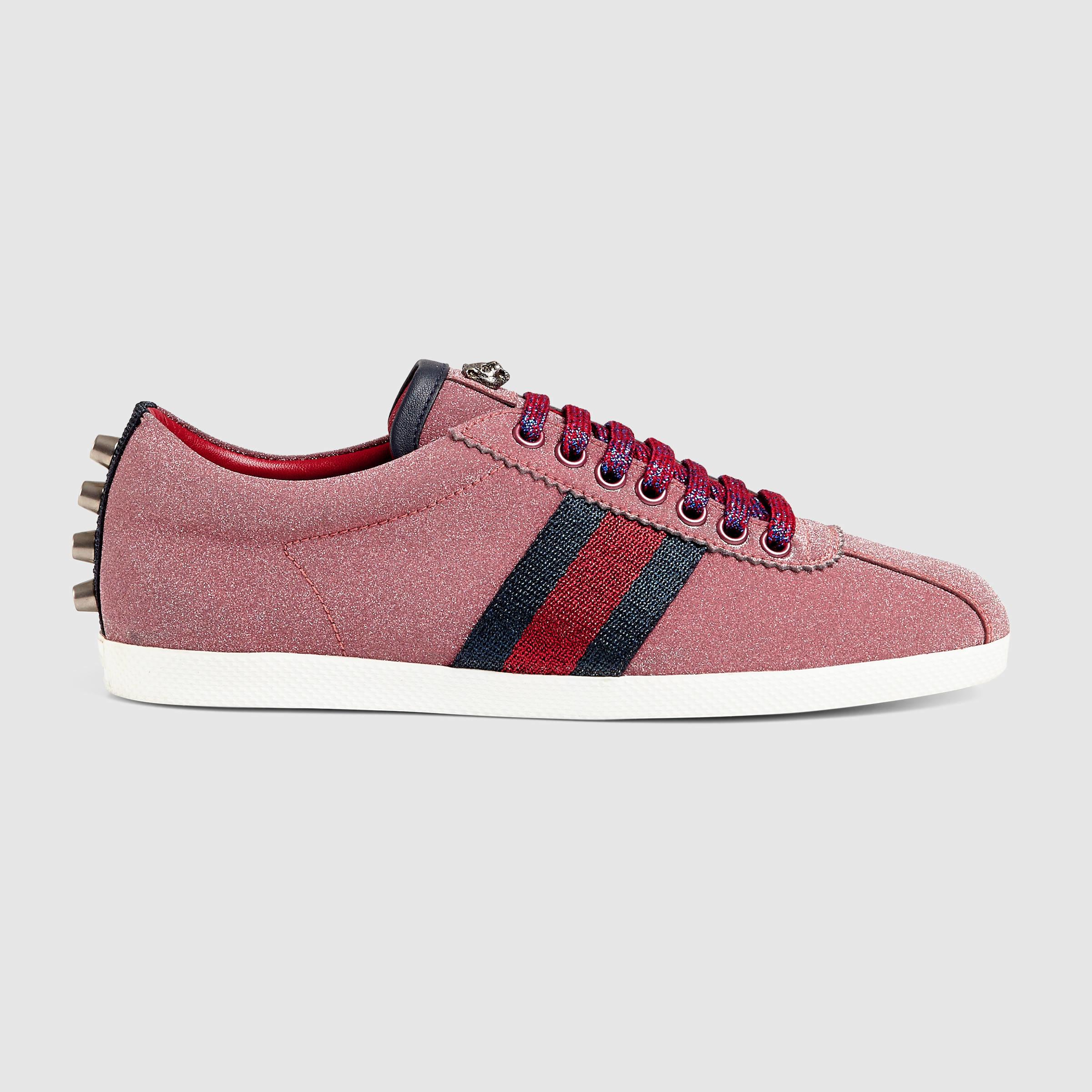 7c55666c24a1 Gucci Glitter Web Sneaker in Red - Lyst