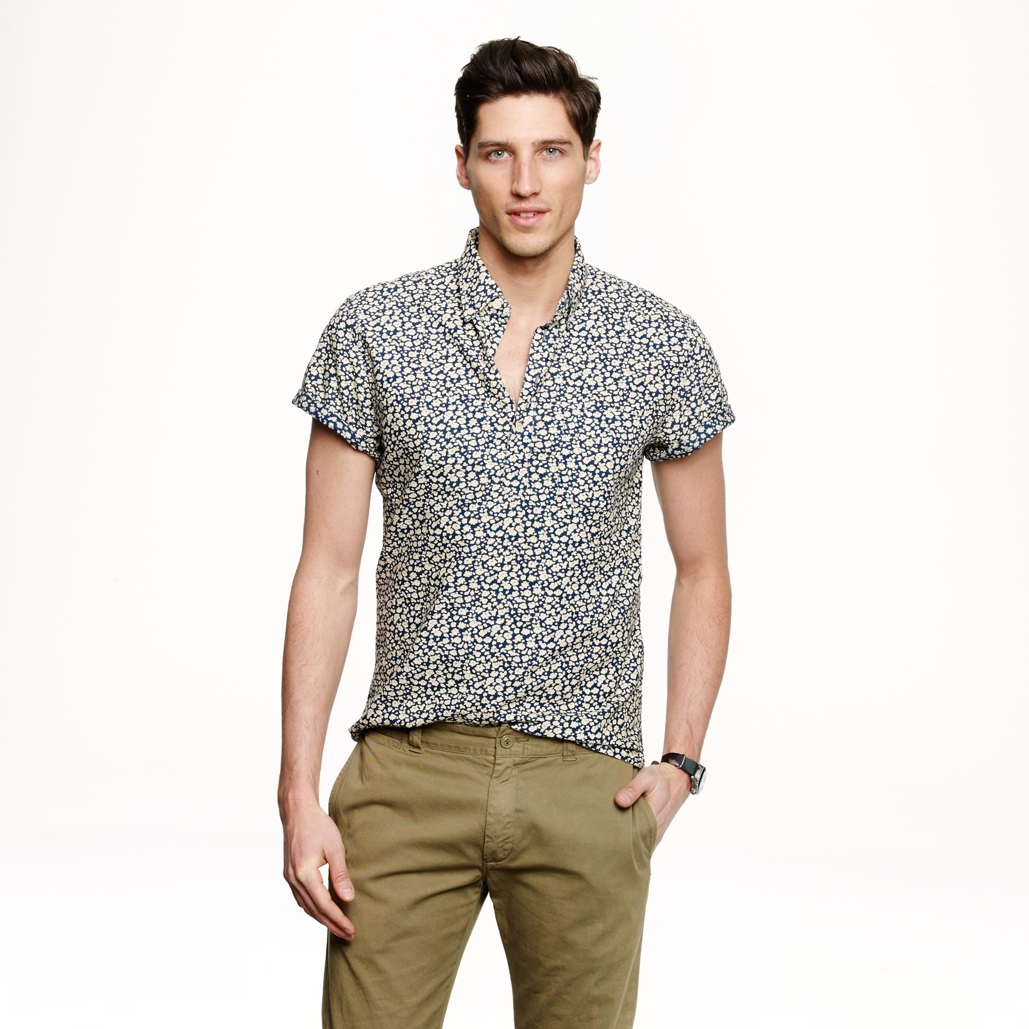63a0cc20f4e Lyst - J.Crew Short Sleeve Popover in Reverse Printed Floral for Men