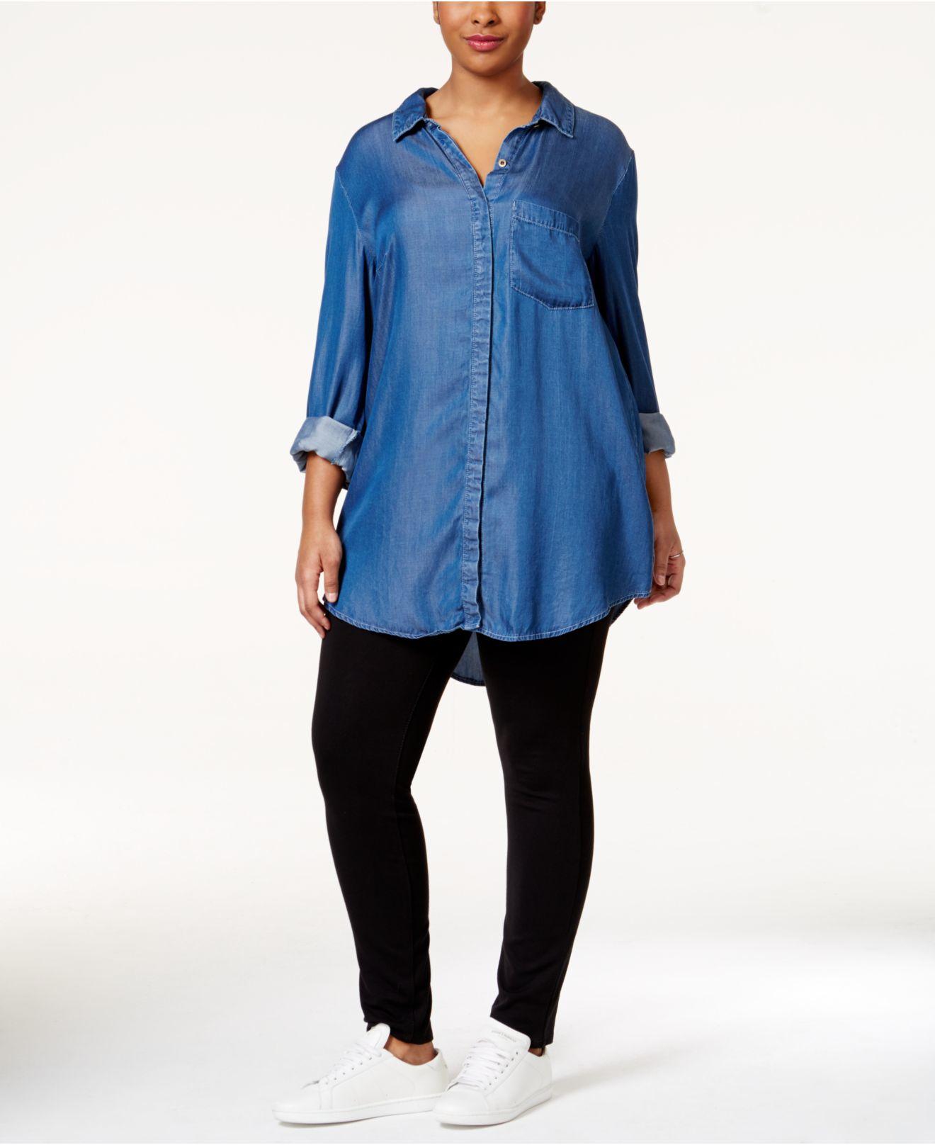 Rachel rachel roy curvy plus size chambray shirt in blue for Plus size chambray shirt