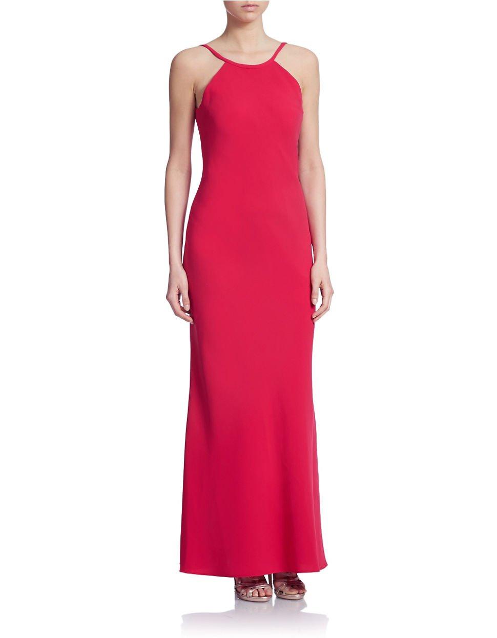 Calvin Klein Open Back Halter Gown In Red Lyst
