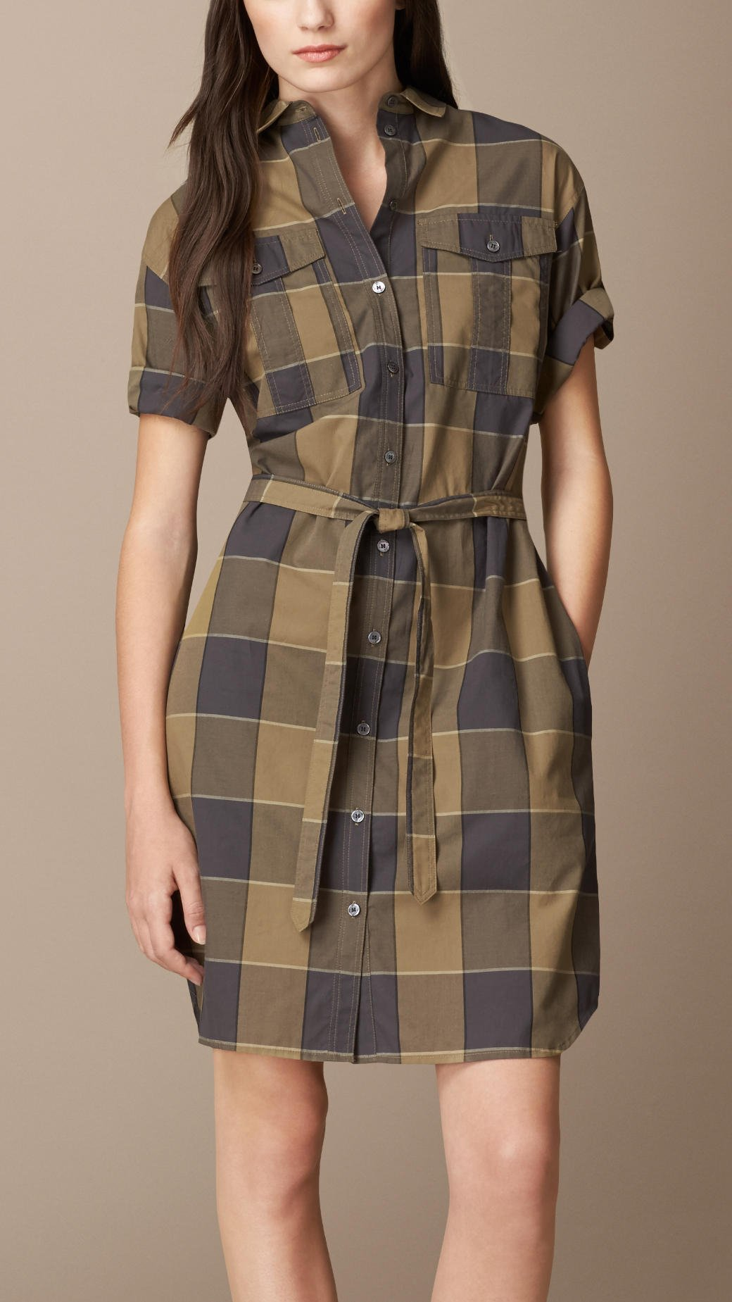 Burberry Check Cotton Box Fit Shirt Dress In Natural Lyst