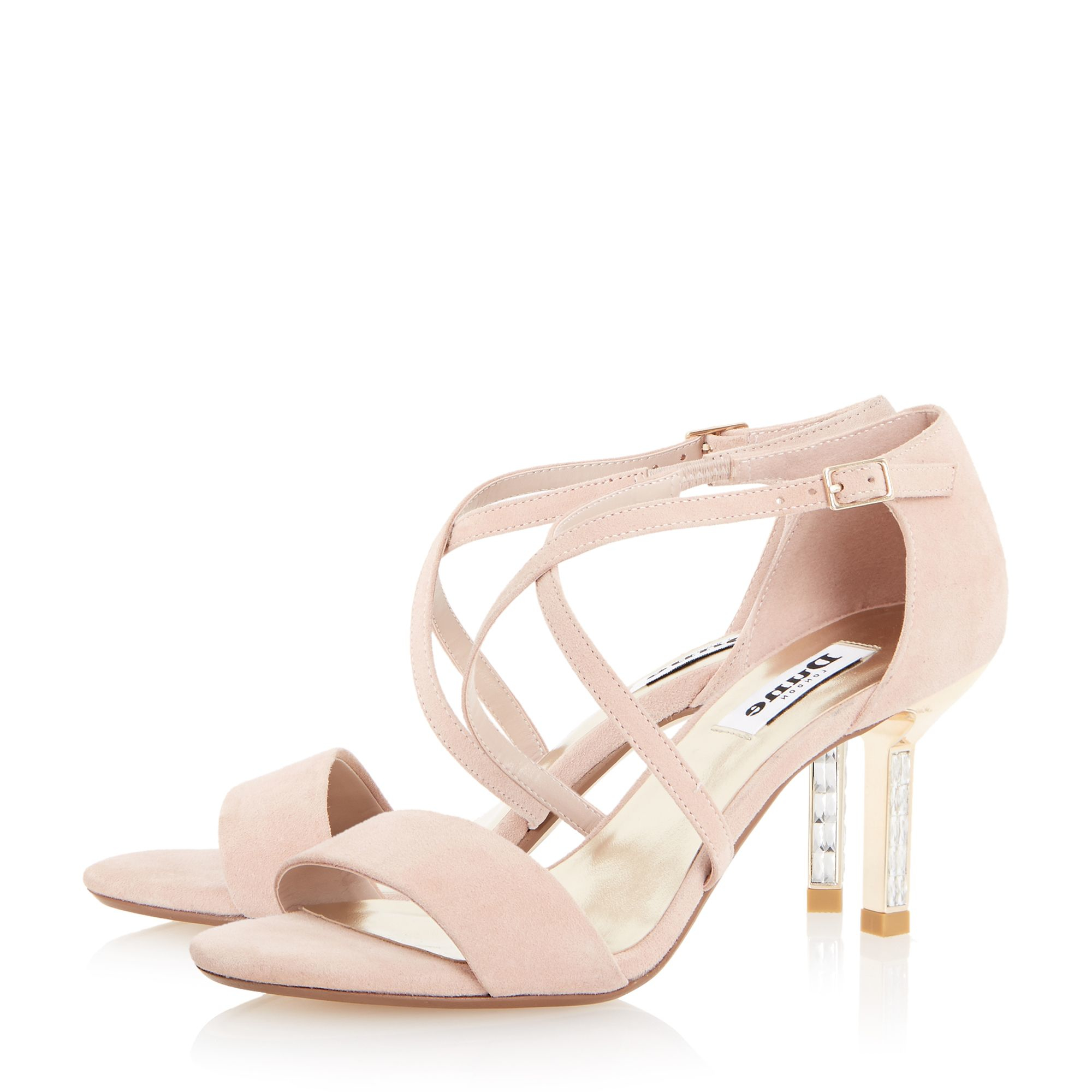 Lyst - Dune Mindee Diamante Mid Heel Sandals in Pink