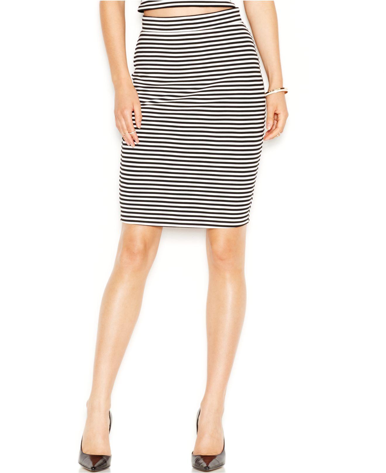 guess striped high waist pencil skirt in black lyst