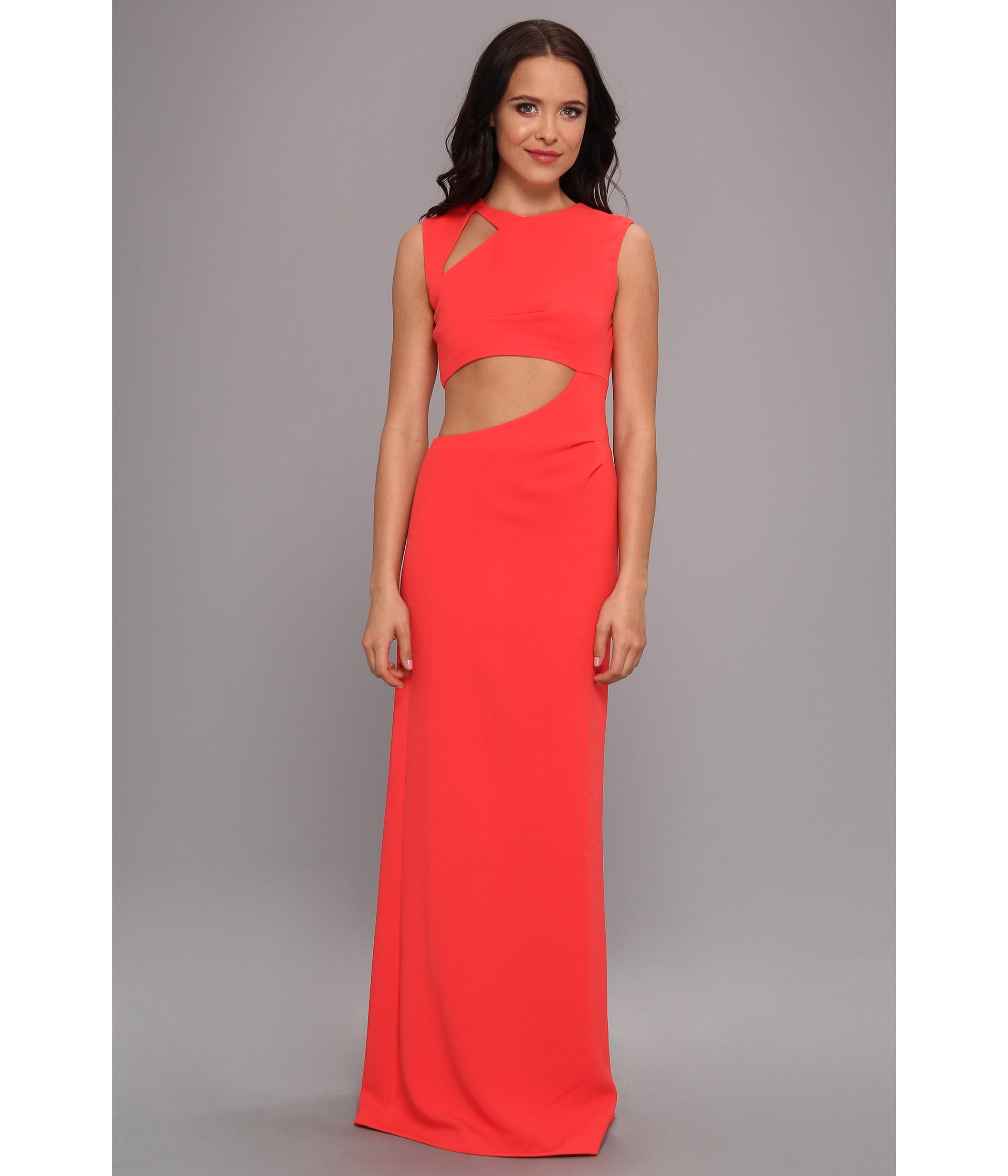Lyst - Bcbgmaxazria Kimora Cutout Evening Gown in Red