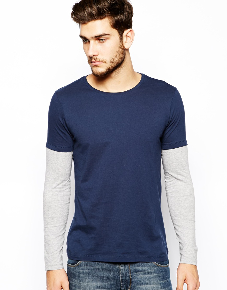 Lyst Asos Long Sleeve Tshirt With Double Layer In Blue