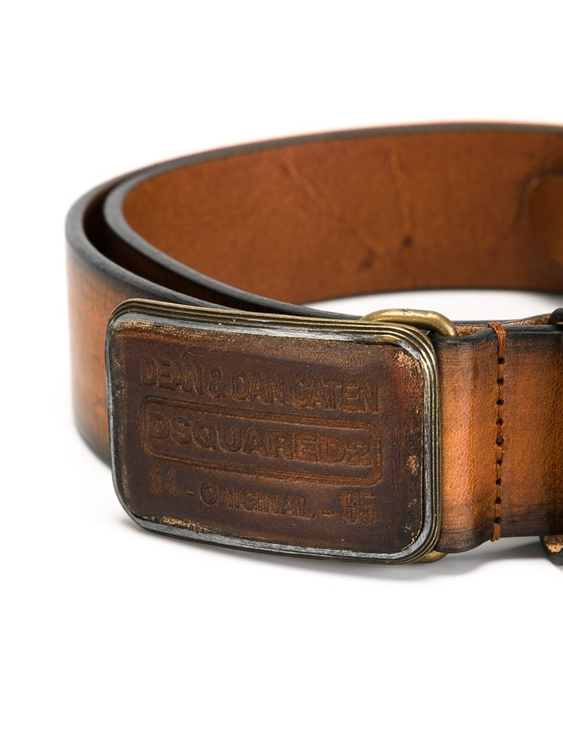 dsquared 178 logo buckle belt in brown for lyst
