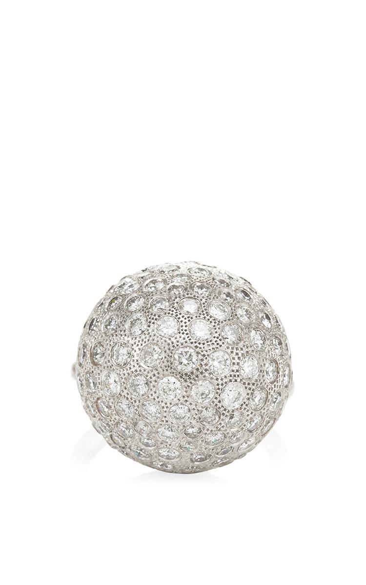 Nina Runsdorf 18k White Gold Diamond Pave Ball Ring In
