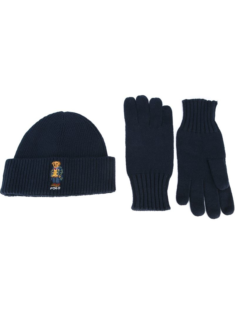 6dc8b7295 Lyst - Polo Ralph Lauren Set Of Bear Motif Beanie And Gloves in Blue