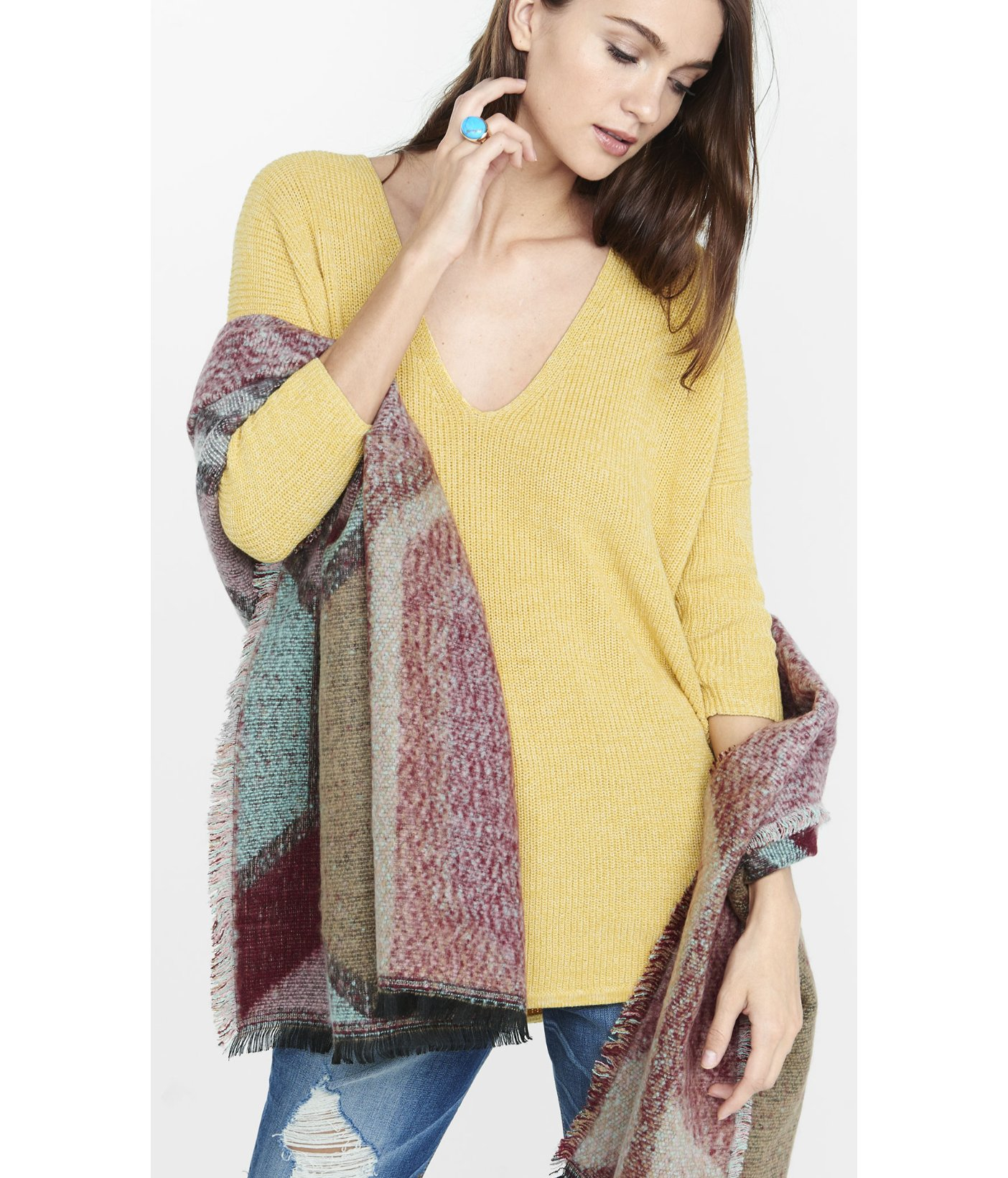 Express Marled London Tunic Sweater in Yellow | Lyst