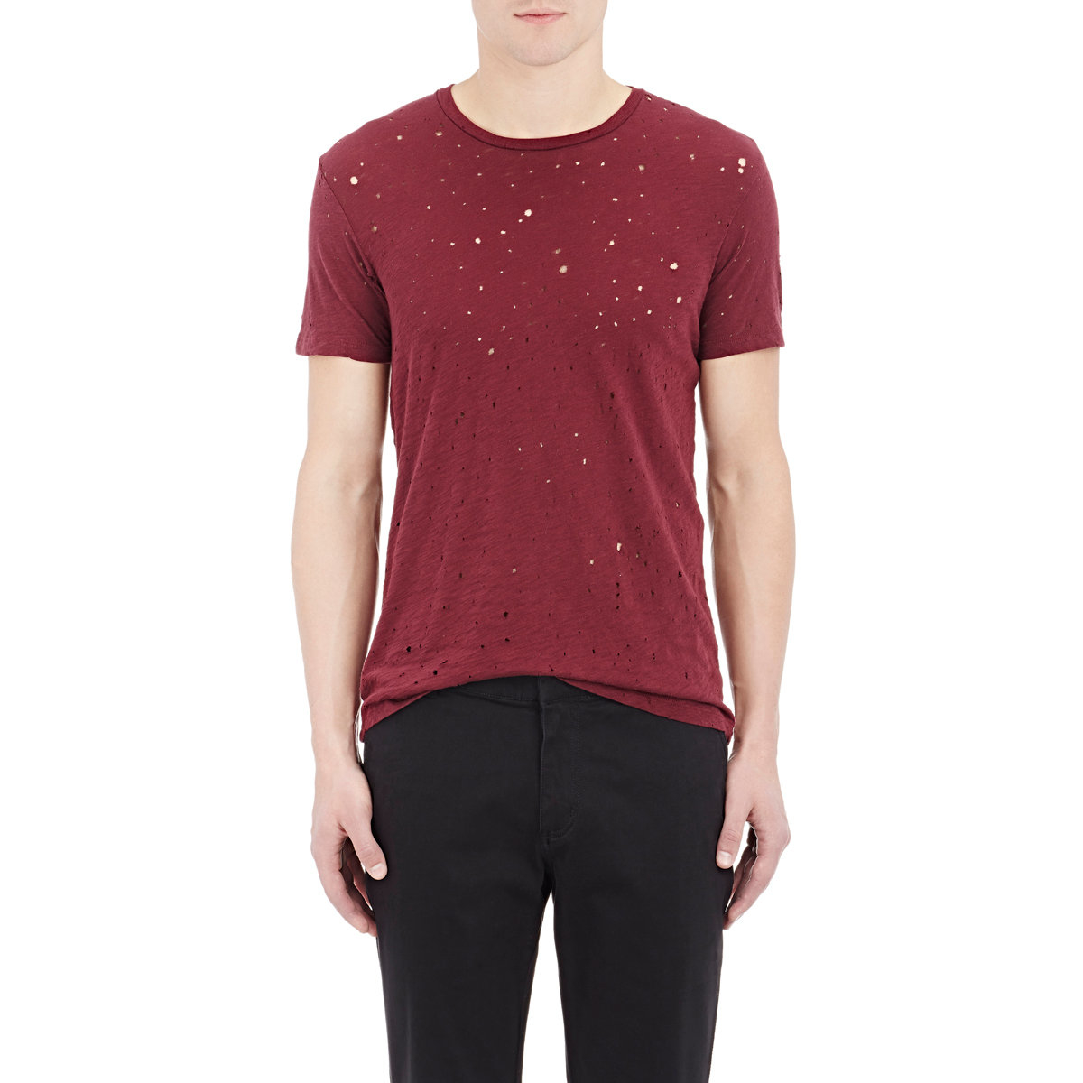 Barneys new york distressed acid rain t in red for men lyst for New york and company dress shirts