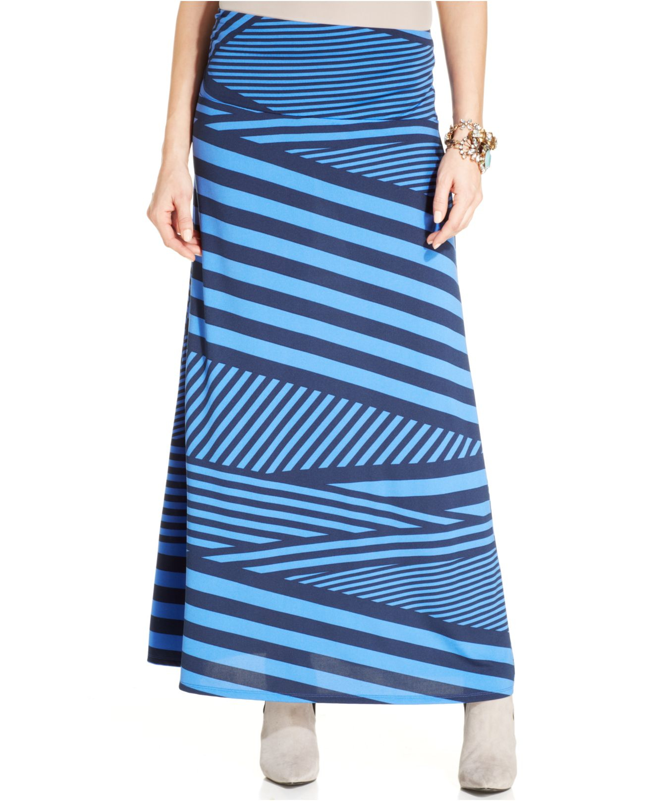 eci striped a line maxi skirt in blue lyst
