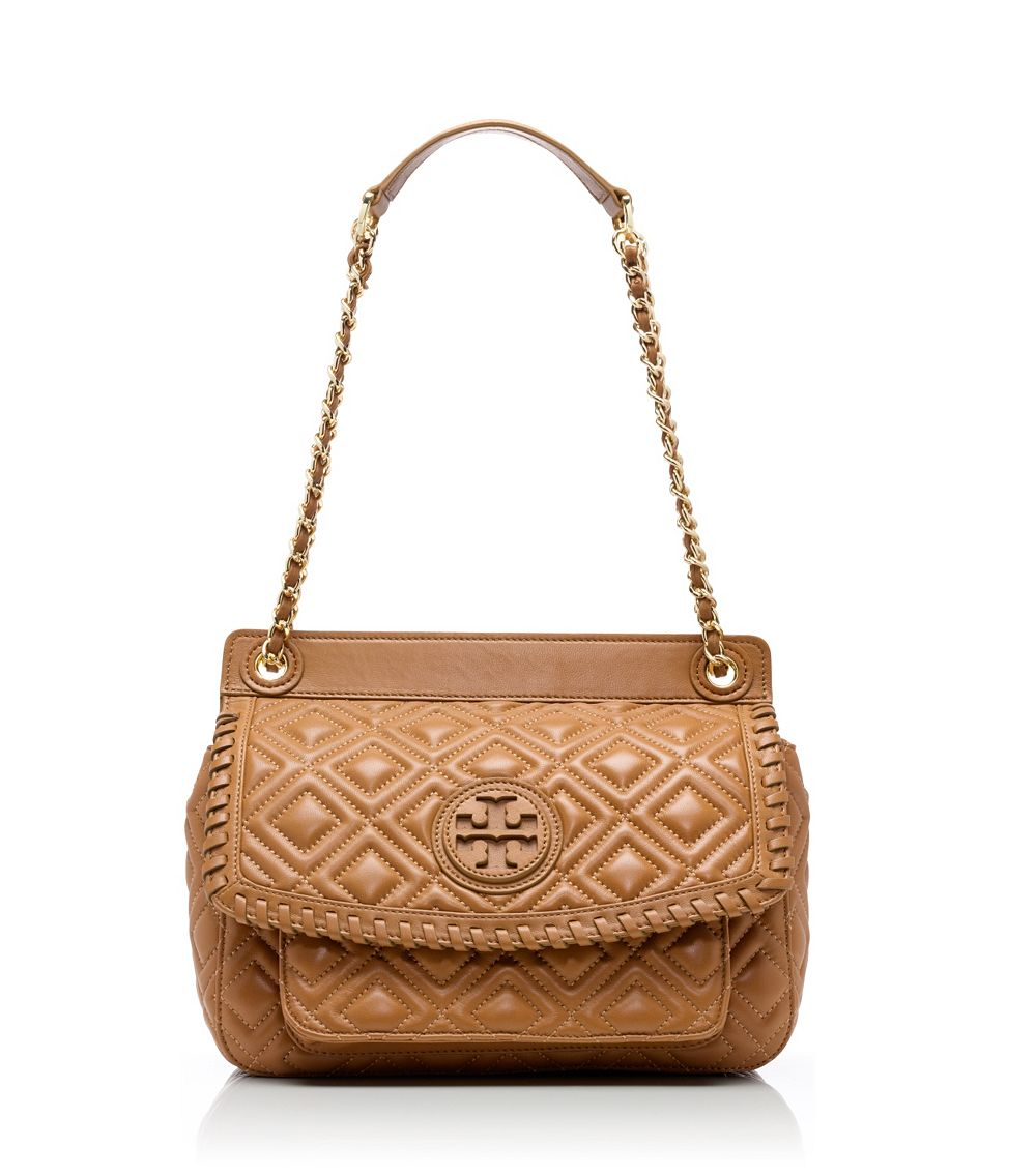 Tory Burch Marion Quilted Small Shoulder Bag In Brown Lyst