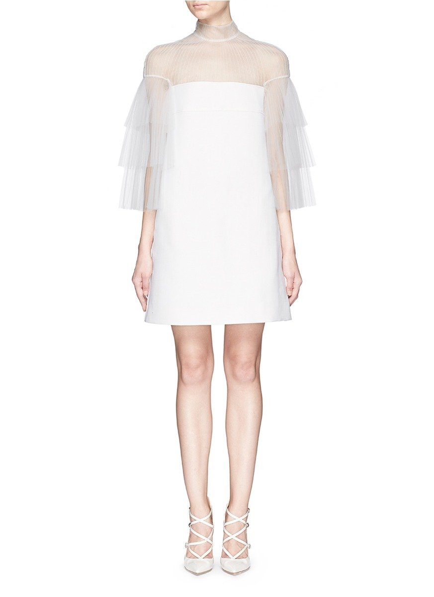 45cd72c90d Valentino Pleat Tulle Panel Bonded Twill Dress in White