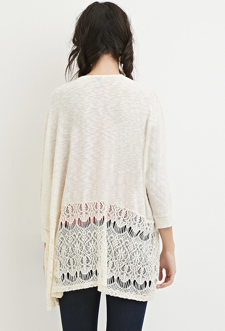 Forever 21 Crocheted Eyelash Lace Cardigan in Natural | Lyst