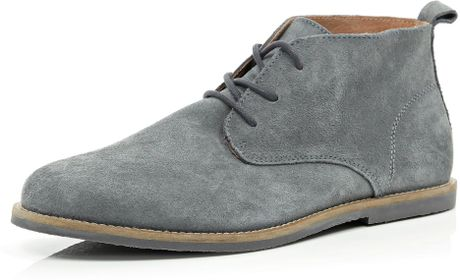 river island grey suede desert boots in gray for grey
