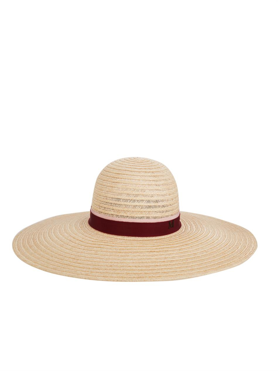 Maison michel blanche wide brimmed straw hat in natural lyst for Maison michel