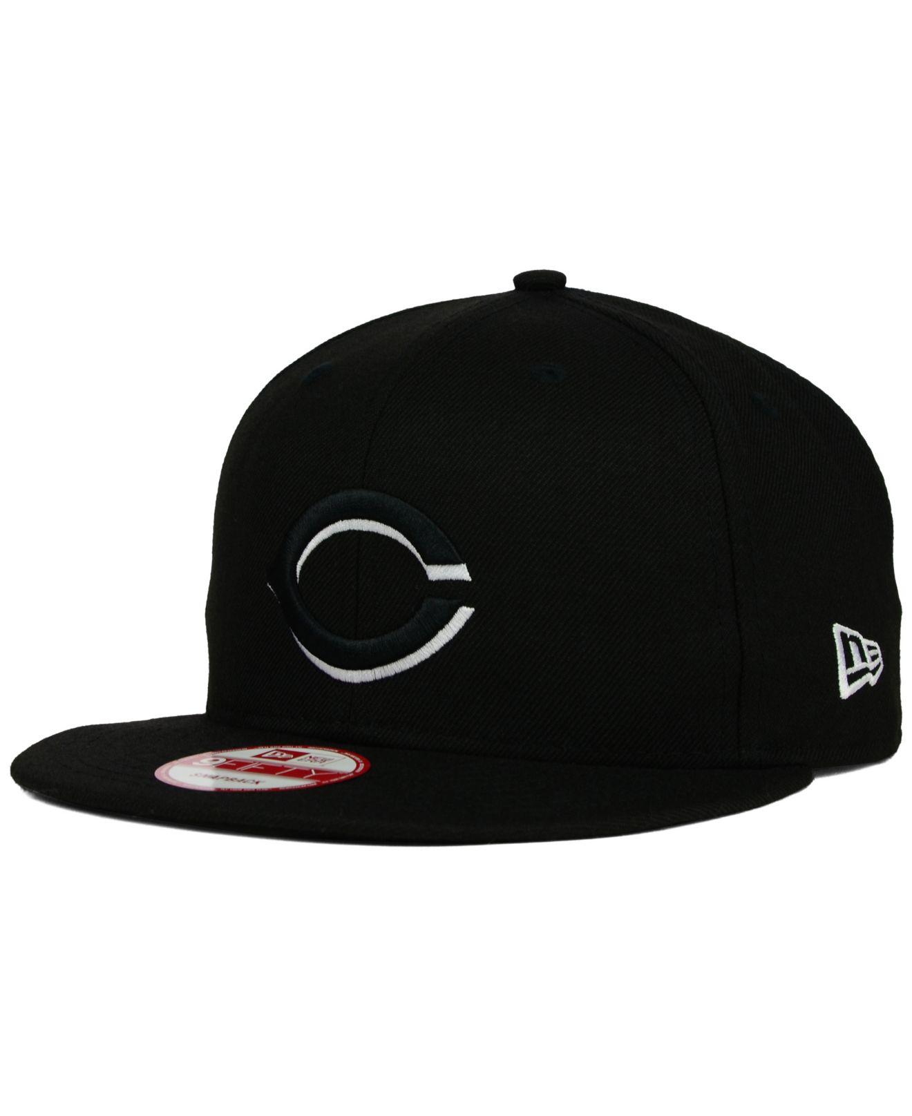 Ktz Cincinnati Reds Black White 9fifty Snapback Cap In