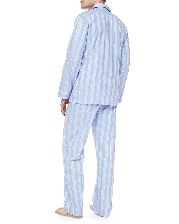 Lyst - Derek Rose Men s Stripe Pajama Set in Blue for Men 0003bea44