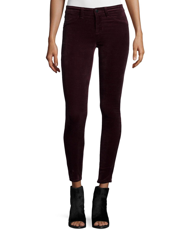 j brand mid rise super skinny velvet jeans in black lyst. Black Bedroom Furniture Sets. Home Design Ideas