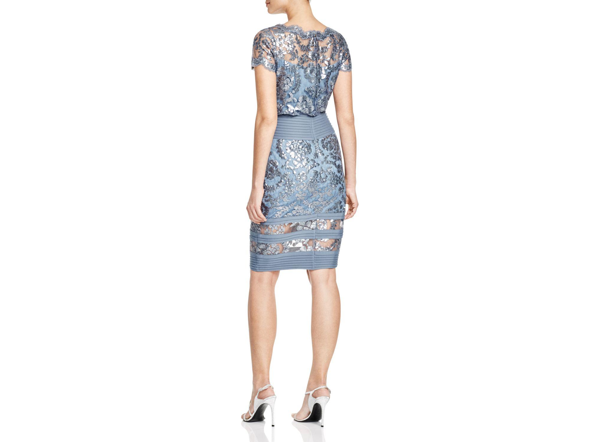 Short Sleeve Sequined Lace Blouson Dress