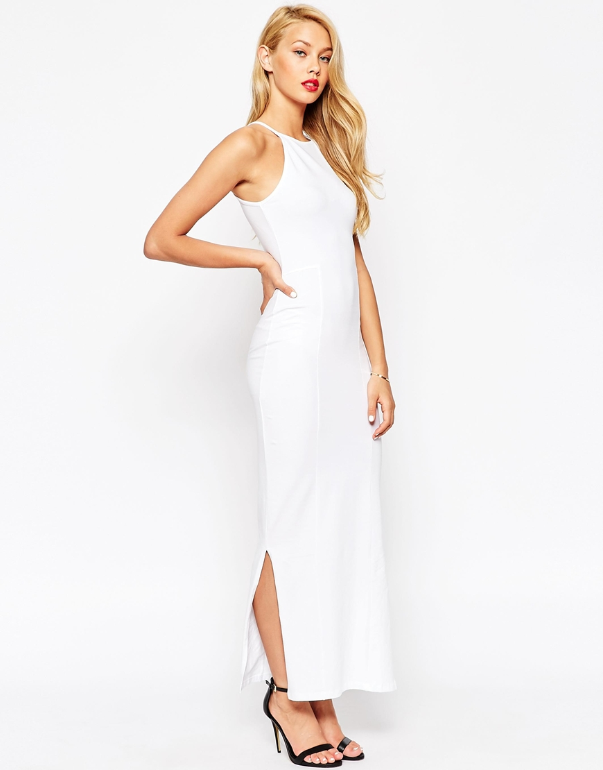 cc75aa4270 ASOS Maxi Dress With 90s High Neck in White - Lyst