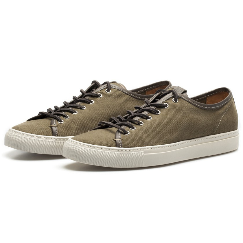 buttero green canvas low profile sneakers in